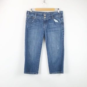Maurices Medium Wash Distressed Cropped Jeans